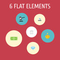 Flat Icons Money, Money Box, Jewel Gem And Other Vector Elements. Set Of Finance Flat Icons Symbols Also Includes