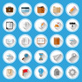 Flat icons and pictograms set vector illustration Royalty Free Stock Photo