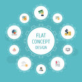 Flat Icons Pie Bar, Card, Algebra And Other Vector Elements. Set Of Recording Flat Icons Symbols Also Includes Tax, Card