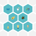 Flat Icons Sea, Tortoise, Shell And Other Vector Elements. Set Of Summer Flat Icons Royalty Free Stock Photo