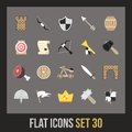 Flat icons set castle and wepon Royalty Free Stock Photos