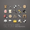 Flat icons set castle and wepon Stock Images