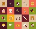 Flat icons set castle and wepon Royalty Free Stock Photography