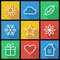 Flat icons set of colorful in style Stock Photography