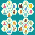Flat icons set of fashion men s and women clothes made in hexagon shape Royalty Free Stock Photography