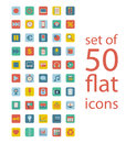 Flat icons set of fifty Royalty Free Stock Image