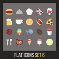 Flat icons set food and drink collection Royalty Free Stock Images