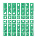 Flat icons set in green cubes Stock Images