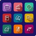 Flat icons set with shadows for web and interface of rectangular colorful design business presentations applications gadgets cloud Stock Photos