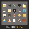 Flat icons set vintage collection Stock Photography