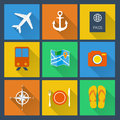 Flat icons set for web and mobile applications holiday collection Royalty Free Stock Photos