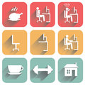 Flat icons with shadow of objects of daily routine and office on white background Stock Photos