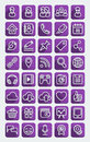 Flat icons social media purple set of web of communication network in the long shadows style clearly layered and fully editable Stock Photography
