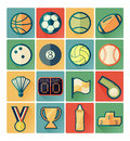 Flat icons sport set vintage color Royalty Free Stock Photography