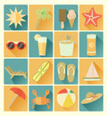 Flat icons summer beachr set vector beach colorful Royalty Free Stock Photo
