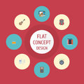 Flat Icons Tambourine, Earphone, Mp3 Player And Other Vector Elements. Set Of Studio Flat Icons Symbols Also Includes