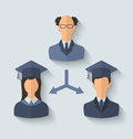 Flat icons of teacher and his students have graduated Royalty Free Stock Photo