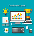 Flat icons of trendy business objects with long shadows illustration Stock Photo