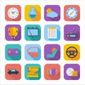 Flat icons for web design color and mobile applications set vector illustration Stock Photos