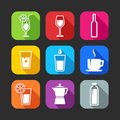 Flat icons for web and mobile applications with beverages design long shadows Royalty Free Stock Image