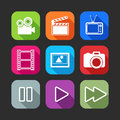 Flat icons for web and mobile applications with creative industry items design long shadows Royalty Free Stock Photos