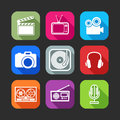 Flat icons for web and mobile applications with creative industry items design long shadows Stock Photo