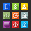 Flat icons for web and mobile applications design with long shadows Stock Photo