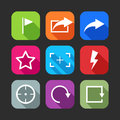 Flat icons for web and mobile applications design with long shadows Stock Photography