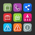 Flat icons for web and mobile applications design with long shadows Royalty Free Stock Photography