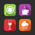 Flat icons for web and mobile applications with meal signs design long shadows Stock Photo