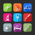 Flat icons for web and mobile applications with medical items design long shadows Stock Photos