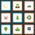 Flat Icons Wood, Landscape, Sprout Vector Elements. Set Of Nature Flat Icons Symbols Also Includes Wood, Plant, Panel Royalty Free Stock Photo