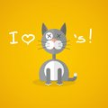 Flat illustration with gray cat on yellow background Royalty Free Stock Images