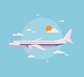 Flat illustration of modern airplane in the sky design style vector concept detailed flying through clouds blue isolated on Stock Photo