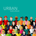 Flat illustration of society members with a large group of men and women. population. urban subculture concept