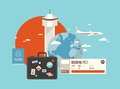 Flat illustration of travel on airplane design style modern vector concept planning a summer vacation online booking a ticket a Royalty Free Stock Photos