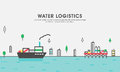 Flat illustration for Water Logistics Royalty Free Stock Photo