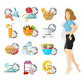 Flat illustration weight loss. Slender girl with different icons of her routine day Royalty Free Stock Photo