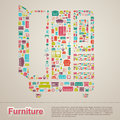 Flat infographic home appliance furniture icon template banner l