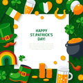 Flat Irish Icons with Square Frame Royalty Free Stock Photo