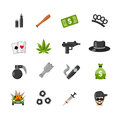 Flat Isolated Gangster Icons Royalty Free Stock Photo