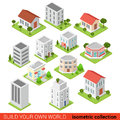 Flat isometric building block restaurant shop vector infographic