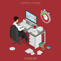 Flat isometric business man hurry vector.