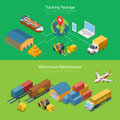 Flat isometric 3d Tracking Package Warehouse Maint