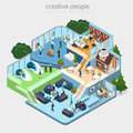 Flat isometric department business people working