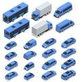 Flat isometric high quality city transport car icon set. Car, van, cargo truck