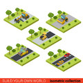 Flat isometric vector road highway making asphalt construction