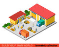 Flat isometric vector warehouse building transport loading box