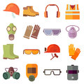 Flat job safety equipment vector icons set