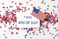 Flat lay composition with greeting card, USA flag and confetti. Happy Independence Day